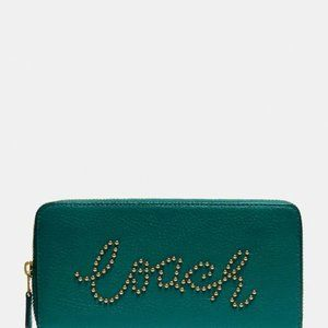 NWT Coach Studded Script Green Leather Wallet